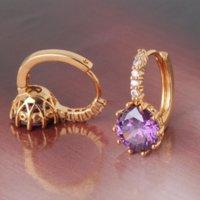 amethyst leverback earrings - Fashion amethyst stylish k yellow gold filled hoop earings purple crystal earing lady s leverback earring E006d