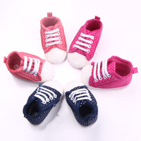 anti red cross - New Infant Baby Girl Shoes Thicken Sneakers Toe Protection Cotton Fabric Dot Lace up Anti slip Soft Sole Months