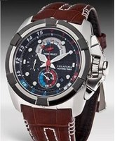 analog timers - Mens Japan Velatura Yachting Watch Men s Chronograph Timer SPC041 Alarm Men Brown Leather SPC041P1 Watches Original box