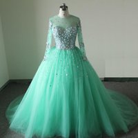 Wholesale Real Long Sleeve Aqua Ball Gown Quinceanera Dresses Tulle With Crystal Lace Up Back Floor Length Sweet Prom Dress