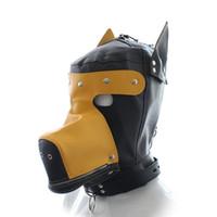 Precio de Traje de cuero completo-Cuero partido del traje de la máscara completa GIMP cachorro de perro de la capilla Bondage Fetish rol TT20 # R501