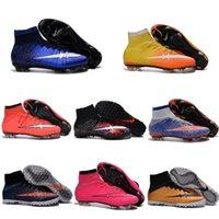 Wholesale Mercurial Superfly TF FG CR7 Soccer Shoes Children Soccer Cleats Men Laser original Kids Boys football boots women Girls Football Shoes