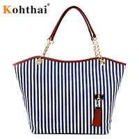 Wholesale Kohthai England Style Striped Canvas Shoulder Bags Women Bag Bags Handbags Women Famous Brands FB246