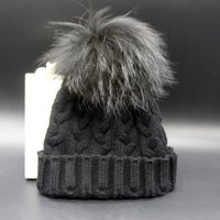 Wholesale Cable Knit Beanie Winter staining color raccoon hat in Europe and America large caps wool hat hat hat