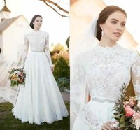 Wholesale 2017 New Vintage Country Wedding Dresses Lace High Neck Applique Illusion Long Sleeve Wedding Dresses Beaded Sash A Line Bridal Gowns