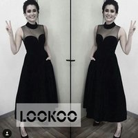 Wholesale Sheer High Neck Black Midi Boy Stylish Ankle Length A Line Party Dresses Special Occasion Wear Sleeveless Cheap Formal Prom Cocktail Gowns