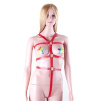 adult suit - Red Body Harness Bondage Restraints Adult Games Sex Products PU Leather Suit Women s Bondage Fetish Costume Open Bust Teddy