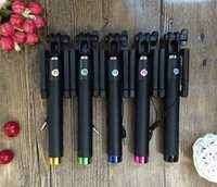 Wholesale Hot Minisuit folding selfie stick Monopod pro with built in Wired shutter for apple android with Adjustable Phone Holder Freeshipping