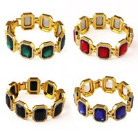 bezel insert - Fashion Mens Bracelets Hip Hop Jewelry Insert Artificial Gems Design K Gold Plated Tennis Chains Punk Rock Rap Men