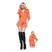 Wholesale Women s Sexy Orange Scrub Set Prisoner Costume Halloween Game Stage Bar Convict Costumes Cosplay Size M XL