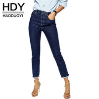 Wholesale HDY Haoduoyi Women Fashion Autumn Denim Blue High Waist Roll Up Legs Straight Ankle Length Zipper Fly Slim Capris Jeans