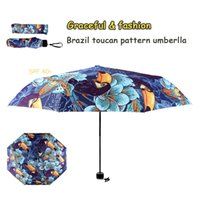 Wholesale Dprinting brazil toucan pattern blue graceful fashion lady Umbrella Folding Thickness Anti UV SPF40 art gift umbrella