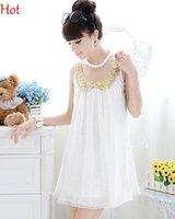 Wholesale New Casual Style Charm Maternity Dress Beads Balls Sequins Gold Doll Collar Chiffon Dress Summer Tank Dress White Mini Dress Pregnant