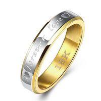 Ofertas diarias anillo de los pares romántico regalo de plata plateado oro anillos de banda para las mujeres 925 de plata para siempre R096 joyería del anillo del amor de San Valentín