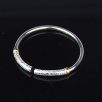 """Wholesale Couple Bracelet Gift Set - 2 Pieces  Set Couple Bracelet 999 Purity Silver Bangle with Gold Plated """" the only love """" Silver Bangle Bracelets Best Gift for Lovers"""