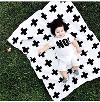 Wholesale hot nununu Baby children s INS Black bottom cross blanket Cotton black and white double sided knitted safa BedSpread Bath large