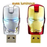 Wholesale Luminous LED Iron Man USB Flash Memory gb GB GB GB GB Avengers Storage Thumb IronMan Stick Flash Pendrive