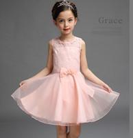 achat en gros de vêtements de fil-Haute qualité sans manches fille net fils bébé robes dentelle dentelle floral imprimé creux de mariage blanc robe de soirée robe de bal vêtements pour enfants