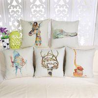 Wholesale 45cm Thicker Colorful Animals Giraffe zebra Cotton Linen Fabric Throw Pillow inch Handmade Fashion New Home Bar Decor Sofa Back Cushion