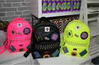 Wholesale New badge han edition rivet backpack female fluorescent color trend tourist shoulder bag computer bag