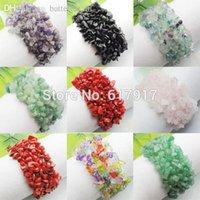 Precio de Chip stone bracelet-Joyería al por mayor-estiramiento de la manera de la armadura natural Piedra de gema granos de las virutas de la pulsera del encanto de 7