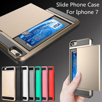 Wholesale Iphone Case Slide Card Slot Wallet Phone Case For Iphone s Plus Iphone s Samsung Galaxy S7 S6 Edge Huawei P8