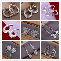 Wholesale Mix order sale pairs diffrent sterling silver earrings GSSE1M Brand new Factory directwomen s silver Ear Cuff earrings
