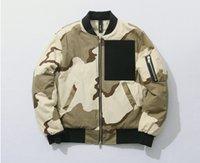 batting pads - The new military desert camouflage MA men s pilots coat cotton padded jacket hip hop zipper jacket