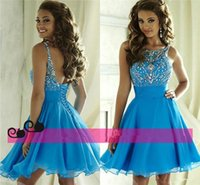 Cheap Cute Blue Crystal Short Dresses Homecoming 2016 Bateau Beading Backless Corset Chiffon 8th Grade Graduation Gowns Cocktail Junior Prom Wear
