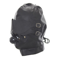 Male adult caps - BDSM Game Restraints Set Head Hood with Blinder Mouth Ball Gay Fetish Bondage Headgear Mask Adult Slave Cap Sex Toys for Couples
