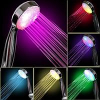 Wholesale 7 Color LED Lights Shower Head Bathroom Water Showerhead Automatical Change Home