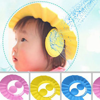 Wholesale Hot Adjustable Baby Kids Shampoo Bath Bathing Shower Cap Hat adjustable Wash Hair Shield with ear DHL free