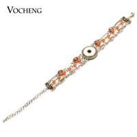 Encantos VOCHENG NOOSA 18mm Snap pulsera para la Mujer 2 colores plateados perlas de cristal de la joyería con los corchetes de la langosta NN-529