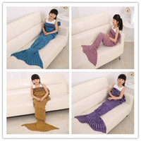 Wholesale Children Fashion Knitted Mermaid Tail Blanket Super Soft Warmer Blanket Bed Sleeping Costume Air condition Knit Blanket in free shiping