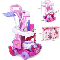 Wholesale New Arrival Girls play house toys Simulation children cleaning trolley with vacuum cleaner tool hygiene with gift