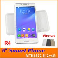 Appareil android avant Prix-R4 5 pouces Android 4.4 Téléphone portable MTK6572 Dual Core 4GB ROM Mobile Smart Phone 3G WCDMA déverrouillé Smart Wake Smartphone YBZ VINOVO + cas 30pc