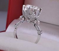 Wholesale Luxury ring beautiful zircon wedding ring Women s flower ring Copper Plated Platinum Ring Rhinestone Ring Lovers ring