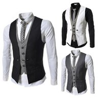 Wholesale new Fashion High quality Men Vest Mens Casual Suit V necked Slim Fit Vests color M XXL men clothing