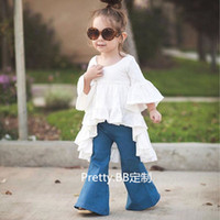 baby undershirts white - 2016 Spring Girl Long Sleeve Causal T shirt Flouncing Ruffles Dress Undershirt Kids Clothes Girls Shirts Children Tops Fashion KB198