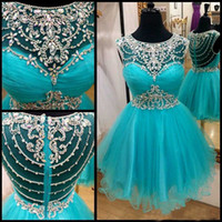 Wholesale Real Sample Jewel Collar Delicate Crystal Beaded Tulle A Line Custom made Short Mini Cheap Homecoming Dresses E0201