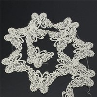 Wholesale Romantic Design Beautiful Yard White Butterfly Embroidered Cotton Crochet Lace Motif For Bridal Dress DIY