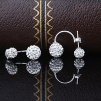 beaded earring chandelier - double sided faced Shambhala ball rhinestone crystal beaded sterling silver beautiful stud earring Moyu ball earrings