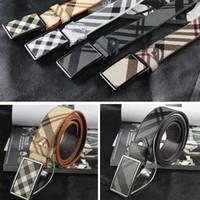 Diseñadores de la tela escocesa para Cinturones de cuero de vaca Hombres Mujeres lujo de la marca del cuero auténtico Cinturones Hebilla de lona de alta calidad Ceinture Homme Feamle CINTOS