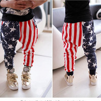 Wholesale New Children Stars and Stripes Harem Pants cotton baby boys Trousers High qulity kids Pants C1560