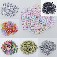 Wholesale Mix Colors Loose Bead Charm DIY Jewelry Making Spacer Loom Band Bracelet Heart Star Necklace Acyrlic Letter Alphabet Cube Beads x6mm