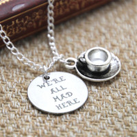 american tea - 12pcs Alice in Wonderland We re All Mad Here Necklace Silver Tea Cup The Mad Hatter Fables and Fairytale Gift For Her