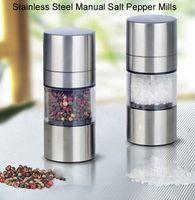 Wholesale Stainless Steel Manual Salt Pepper Mills Grinder Portable Kitchen Mill Muller Home Kitchen Tool Spice Sauce Grinder