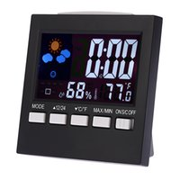 alarms meter digital - Digital Colorful LCD Thermometers Meter Hygrometer with Clock Alarm Snooze Function Calendar Weather Forecast Display E1692