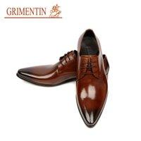al por mayor zapato de los hombres de oficina-El hombre vestido de punto del dedo del pie del zapato para hombre del diseñador italiano formal del vestido de zapatos de cuero genuino zapatos de la boda de lujo negro de los planos de la oficina para el varón