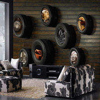 Wholesale Wood and tires industrial style restaurant retro nostalgia personalized background wallpaper murals